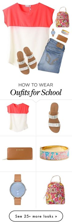 """""""School day"""" by preppysoutherners on Polyvore featuring Hollister Co., J.Crew, Skagen, MICHAEL Michael Kors, Lilly Pulitzer and Vera Bradley"""