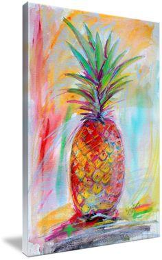 """Aloha Pineapple Mixed Media Art Ginette"" by Ginette Callaway - Painting Media Pineapple Painting, Pineapple Art, Collaborative Art, Diy Canvas Art, Medium Art, Oeuvre D'art, Painting Inspiration, Mixed Media Art, Art Lessons"