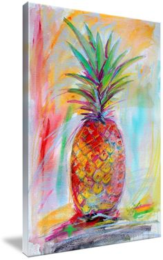 Aloha Pineapple Mixed Media Art Ginette by Ginette Callaway