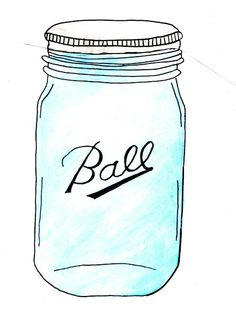 Blue Ball Mason Jars Clip Art