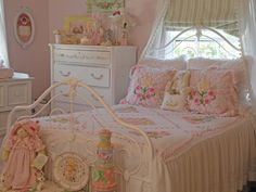 "Pink and white ......... A little girls first ""Big Girl"" bed. Bed is a great Victorian circa 1855."