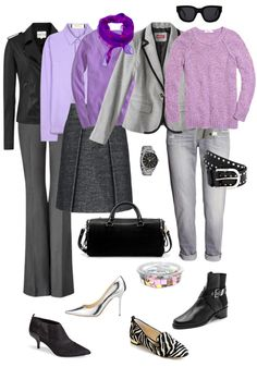 From the You Look Fab blog, Ensemble: Gray, Lilac & Black. This is a soft color palette that is good for blondes. Pink in place of lilac would work equally well.