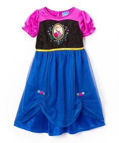 My daughter is going to LOVE this Blue & Black Anna Nightgown - Toddler & Girls on #zulily!