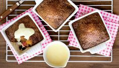 One of our nation's signature desserts, malva pudding with a deliciously fruity twist. Malva Pudding, Banana Pudding, Bread Pudding With Apples, Hot Cross Buns, Cream Cheese Recipes, Recipe Search, Pudding Recipes, Delicious Desserts, Sweet Treats