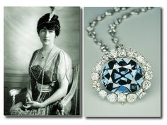 """Hope Diamond """"Heart of the Ocean"""" originally worn by Lady Evalyn Walsh McLean. The """"Titanic"""" movie made even more famous."""