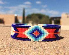 Sapphire Boho Bead Loom Bracelet Bohemian Boho Chic by PuebloAndCo