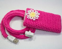 Crochet iPhone Charger & Case 100 Cotton Pink by MaygelleNDots