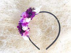 Purple and white flower headband for wedding. Wedding hair, bridal hair accessories, bridesmaid hair.