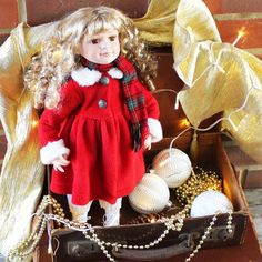Ready for Christmas? Vintage porcelain doll as a Christmas decoration or Christmas gift. Collectable doll from Knightsbridge Collection, made in Great Britain.