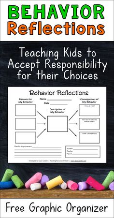 Best classroom management graphic organizer tool! This Behavior Reflections graphic organizer is a great way to handle misbehavior in the classroom. Having kids fill out this graphic organizer helps them understand why they engage in disruptive behaviors as well as the consequences of their actions. The ultimate goal is for them to accept responsibility for their choices.