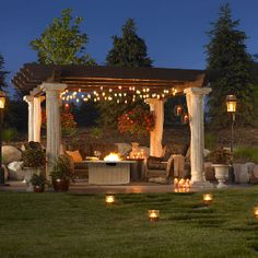 Outside sitting area under pavilion - nicely decorated with candles and lighting