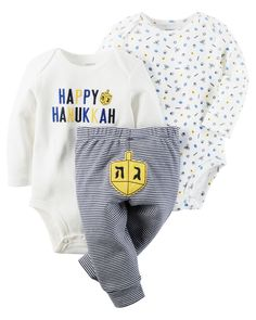 Cozy bodysuits pair perfectly with striped leggings for your festive little one's first Hanukkah