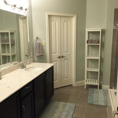 Master bath update! Wall color is Gray Cashmere by Benjamin Moore - the perfect blue/green/gray balance for a great spa-like feel #benjaminmoore #paint