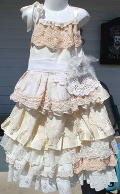 boho, rustic,wedding, flower girl dress, size 5, 6 and 7, vintage layers ruffles,ribbon tie shoulders,cream, ivory, silk,lace,cotton,calico by mamma5design on Etsy