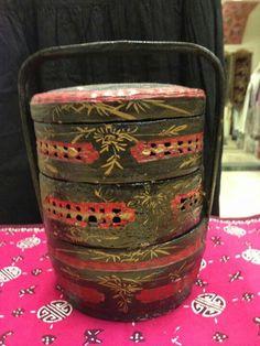 """An antique """"Bakul Siah """" Peranakan 3 layer cake basket."""