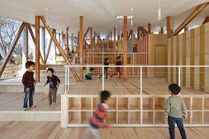 Image 1 of 14 from gallery of Hakusui Nursery School / Yamazaki Kentaro Design Workshop. Courtesy of Yamazaki Kentaro Design Workshop Atelier Architecture, Education Architecture, School Architecture, Wooden Architecture, Japanese Architecture, Japanese Landscape, Interior Architecture, Interior Design, Play Spaces