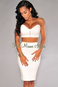 Ivory Gold Zipper Sweetheart Strapless Two Piece Set