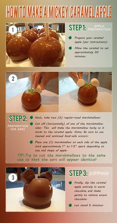 to Make Mickey Caramel Apples Fun Disney Food: How to make Mickey caramel apples at home!Fun Disney Food: How to make Mickey caramel apples at home! Disney Desserts, Köstliche Desserts, Delicious Desserts, Disney Inspired Food, Disney Food, Disney Themed Food, Disneyland Food, Disney Disney, Gourmet Candy Apples