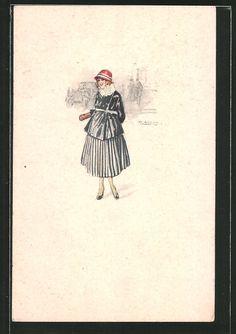 Künstler-AK Mauzan: Dame im Kleid mit Hut 0