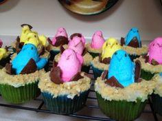 Peeps Hatching Easter Cupcakes