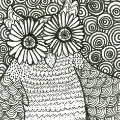 Psychedelic Owl ACEO Illustration Black White by clockworkghOst