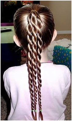 Triple Braid and a Long Pony Hairstyle for kids