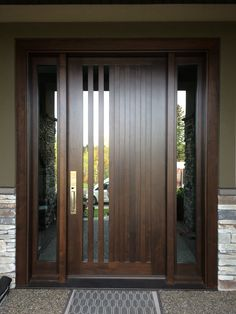 Checkout these modern front door ideas for your home. Thirty unbelievable front door ideas for your modern home. Feed your design ideas now. Wooden Front Doors, Modern Front Door, House Front Door, The Doors, Glass Front Door, House Doors, Front Entry, Modern Fence, Modern Exterior Doors