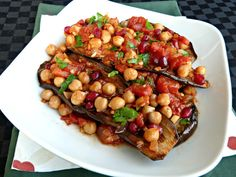 Eggplant, Chickpea & Pomegranate Stew -need to get over my fear of cooking eggplant :)