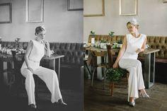Marlene, unser urban moderner Brautoverall in einem erwachsenem Styled Shoot - urban chic der Extraklasse!