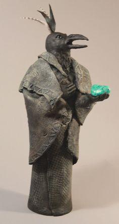 "Raven sculpture  ""my heart sings"" $150. by Misha's Art"