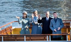 The Crown Prince couple and Belgian monarchs were cruising in style during an afternoon sail through the Copenhagen Harbor.