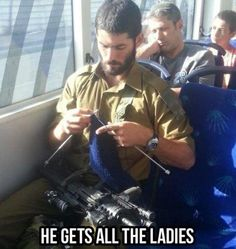 This @IDFSpokesperson soldier is welcome at the #JCCSF #knitting circle anytime. #knitting #cougarbait