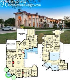 Architectural Designs Luxury House Plan gives you almost sq.-- Architectural Designs Luxury House Plan gives you almost sq. and a floor plan to die for. Ready when you are. Where do YOU want to build? – Fortune And Luxury House Plans Mansion, Luxury House Plans, Bedroom House Plans, Dream House Plans, House Floor Plans, Luxury Houses, Luxury Floor Plans, Large House Plans, Dream Mansion