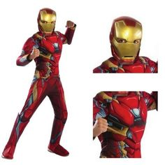 Iron-Man Costume Halloween Fancy Dress Hero Marvel Kids Childrens Party Hero
