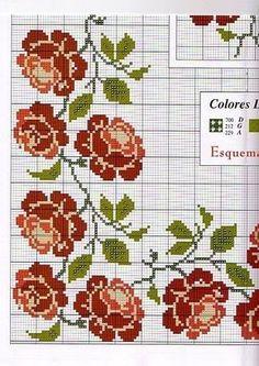 Punto De Cruz Para Manteles   ... Punto de cruz manteles: aprende a hacerlos [FOTOS] Patrón rosas punto