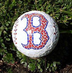 Red Sox Mosaic Gazing Ball | by GardenDivaDeb