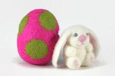 Needle Felted Bunny in a Wool Felted Egg - Bunny Toy - Handmade Miniature Easter Decoration