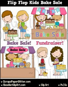 Flip Flop Kids Bake Sale Clip Art, Commercial Use, Clipart, Digital Image, Png, Graphic, Digital, Instant Download, Sale, Sell, Baked Goods by…