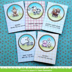 A Cute Hay There Boxed Card Set by Joyce!   Lawn Fawnatics