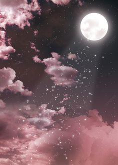 Pink Background Pink Cloud Moon