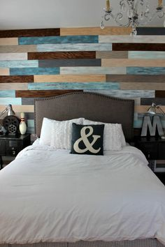 Bedroom Makeover Accent Wall--maybe with more similar colors...