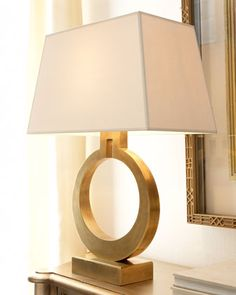 Brass Ring Lamp by Visual Comfort via Horchow Luxury Table Lamps, Table Lamps For Bedroom, Bedroom Bar, Bedside Table Lamps, Traditional Lamp Shades, Led, Ring Lamp, Retro Bedrooms, Gold Table