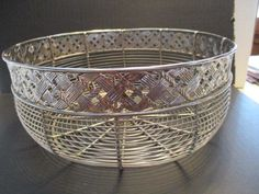 Round Silver Metal Wire Fruit/Vegetable Basket #Unbranded