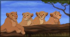 Young adult Sarabi chatting with her sisters Naanda, Dwala and Diku. My versions of Naanda, Dwala and Diku are just generic looking lionesses, nothing too special...  The Lion King, Sarabi, Na...