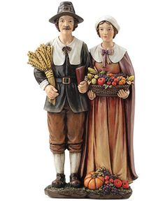 Roman Thanksgiving 14 Pilgrim Couple Decoration - Holiday Lane - For The Home - Macy's