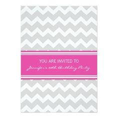 Pink Grey Chevron 20th Birthday Party Invitations
