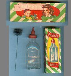 Vintage 30s Doll's Glass Baby Bottle w Brush Orig Box!