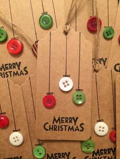 Christmas Gift Tags Made Out of Brown Paper and Buttons.