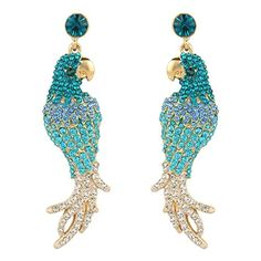 EVER FAITH GoldTone Austrian Crystal Party Art Deco Parrot Pierced Dangle Earrings Blue *** Be sure to check out this awesome product.