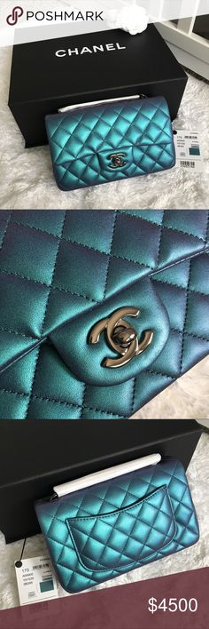 💙 CHANEL TURQUOISE IRIDESCENT MINI FLAP BAG 💙 Authentic Chanel turquoise iridescent lambskin rectangular mini flap bag with ruthenium hardware. Spring-Summer 2017 collection. Brand new! Took out of box for pictures. Hard piece to get! The color of this bag is amazing, has a tint of purple in different lighting. Comes with magnetic box, dust bag, care booklet, authenticity card, and tag. Cheaper through 🅿️🅿️ & E🅱️🅰️Y CHANEL Bags Mini Bags